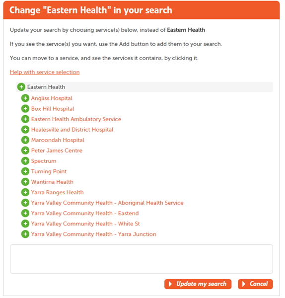 The change service dialog